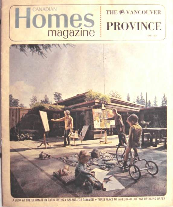 MacKillop family on the cover of Canadian Homes Magazine, a weekend supplement to The Vancouver Province newspaper, 1963. Photo by Selwyn Pullan.
