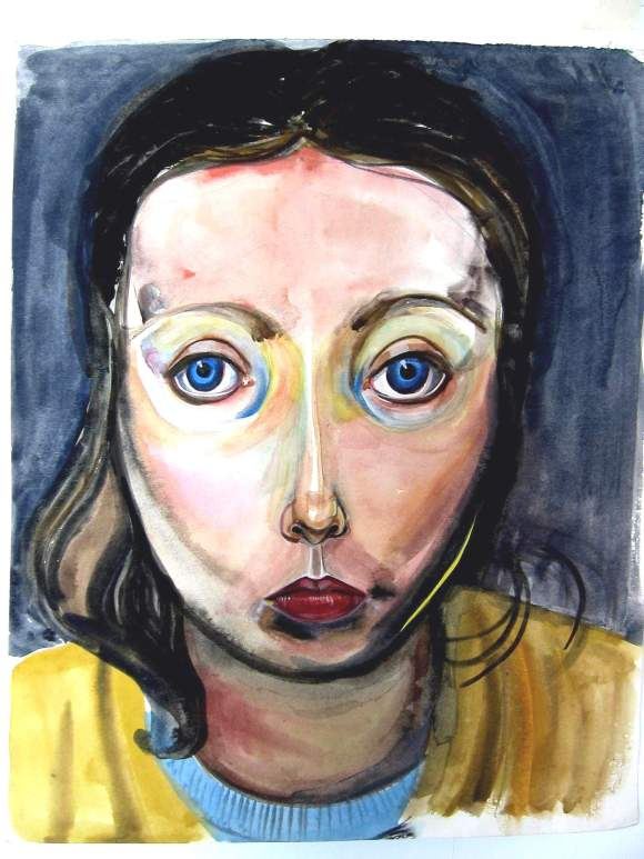 "Self-portrait by Jean Smith (11 x 17"" watercolour on paper, circa 1973 - 1975)"