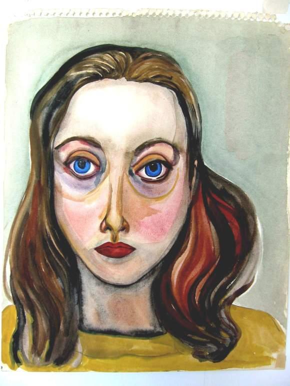 Self-portrait by Jean Smith (11 x 17″ watercolour on paper, circa 1973 – 1975)