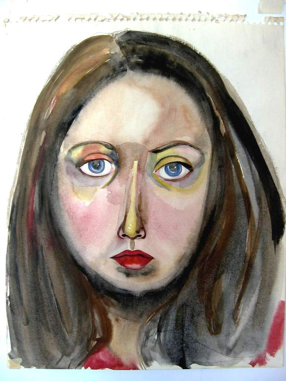 Self-portrait by Jean Smith (11 x 17″ watercolour on paper, circa 1973 – 1975)