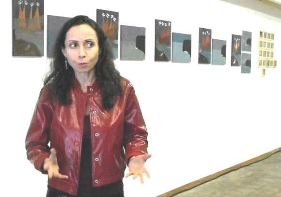 Jean Smith at the opening of The Black Dot Museum of Political Art exhibition at Northern Gallery in Olympia, Washington, 2010.