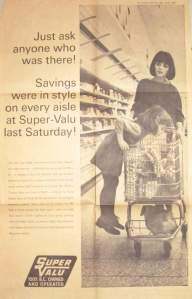 1965, Super Valu ad in the Vancouver Sun. Art director John MacKillop of Lovick's; daughter Jean on the side of the shopping cart.