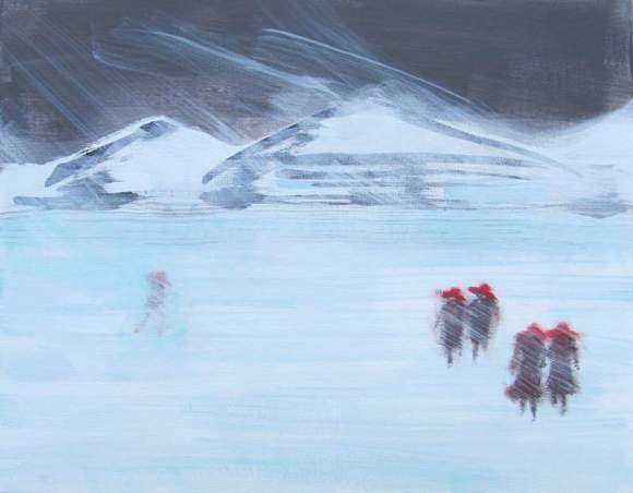 Five in Red Hats Walking Across a Frozen Lake #2 800