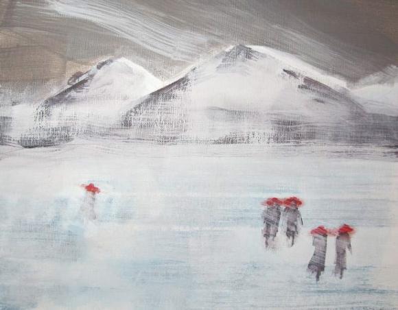 Fives in Red Hats Walking Across a Frozen Lake 2 800