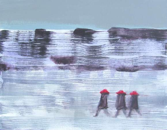 Three in Red Hats Walking in Winter #2 800