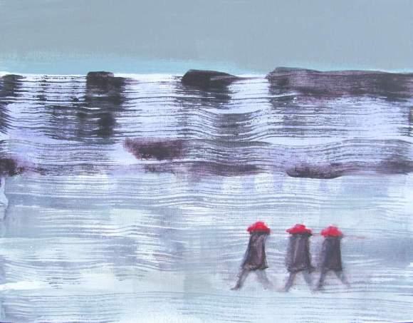 Three in Red Hats Walking in Winter #2 800