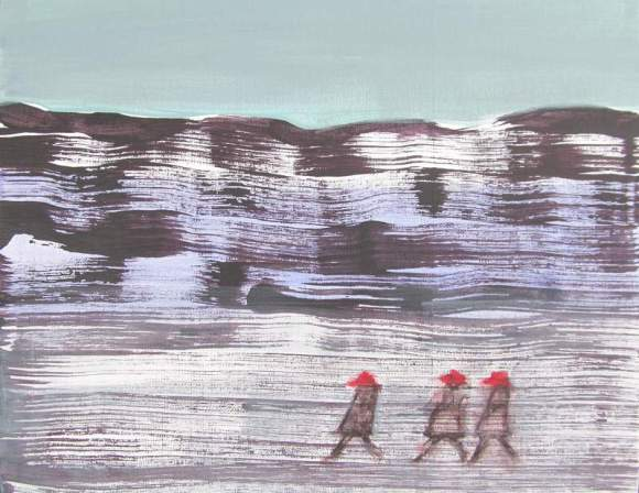 Three Ladfies in Red Hats Walking Across a Frozen Lake 800