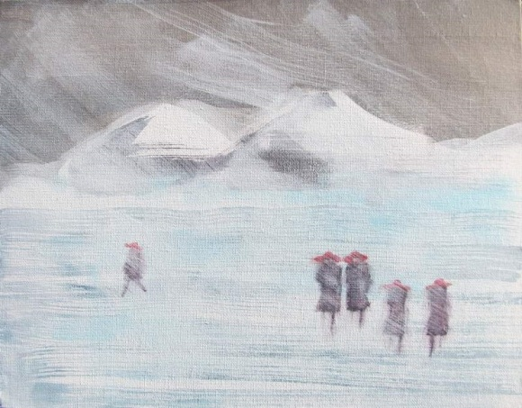 Five in Red Hats Walking in Winter #3 SUN 800