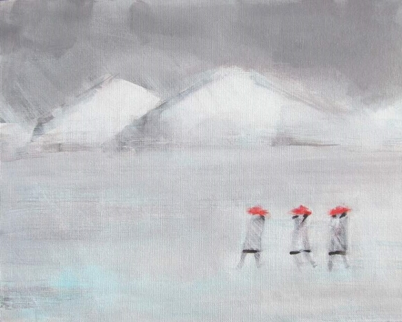 Three in Red Hats Walking in Winter #3 800