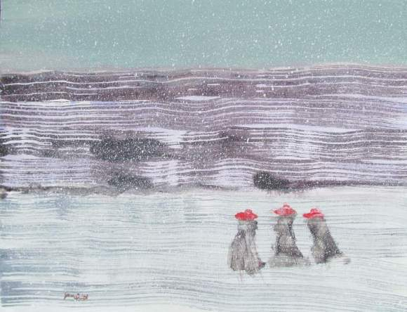 Three in Red Hats and Long Coats on the Frozen Lake in a Snowstorm 800