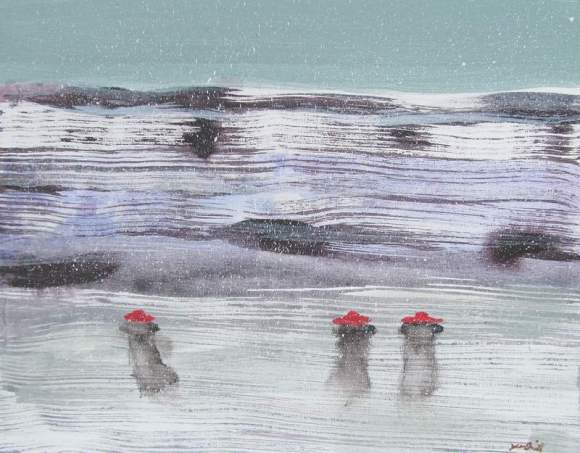 Three in Red Hats and Long Coats with Binoculars on the Frozen Lake in a Snowstorm 800