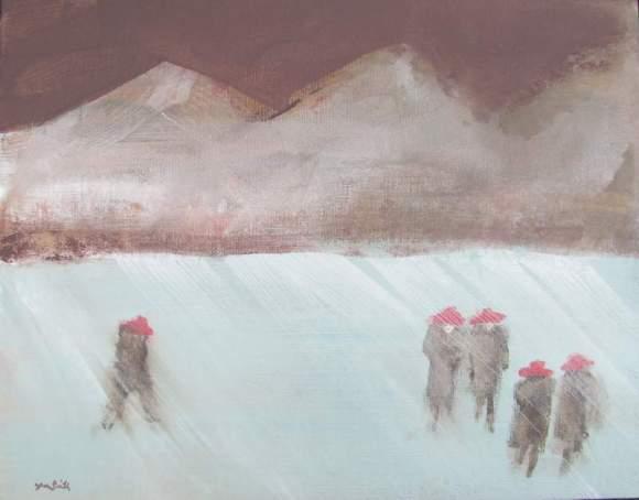 Five in Red Hats Walking in Winter #6 800