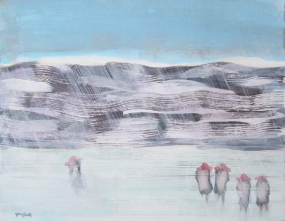Five in Red Hats Walking in Winter #8 800